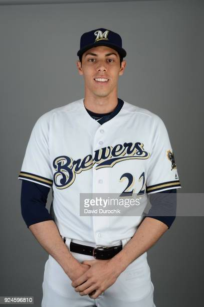 Christian Yelich of the Milwaukee Brewers poses during Photo Day on Thursday February 22 2018 at Maryvale Baseball Park in Phoenix Arizona