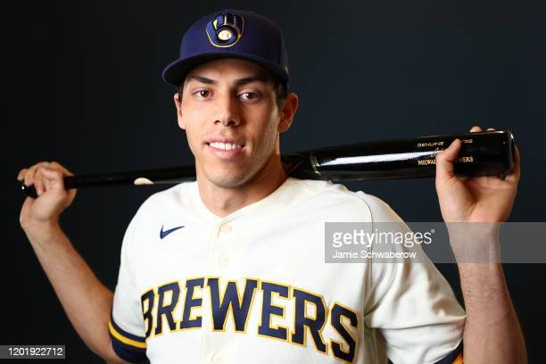 Christian Yelich of the Milwaukee Brewers poses during the Milwaukee Brewers Photo Day on February 19 2020 in Phoenix Arizona
