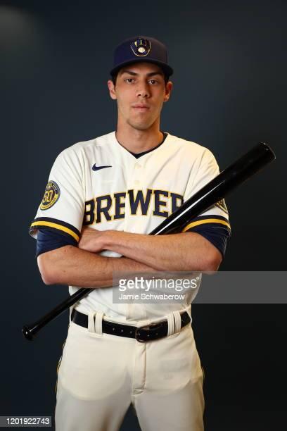 Christian Yelich of the Milwaukee Brewers poses during the Milwaukee Brewers Photo Day on February 19, 2020 in Phoenix, Arizona.