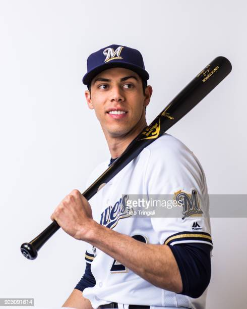 Christian Yelich of the Milwaukee Brewers poses for a portrait during Photo Day at the Milwaukee Brewers Spring Training Complex on February 22 2018...