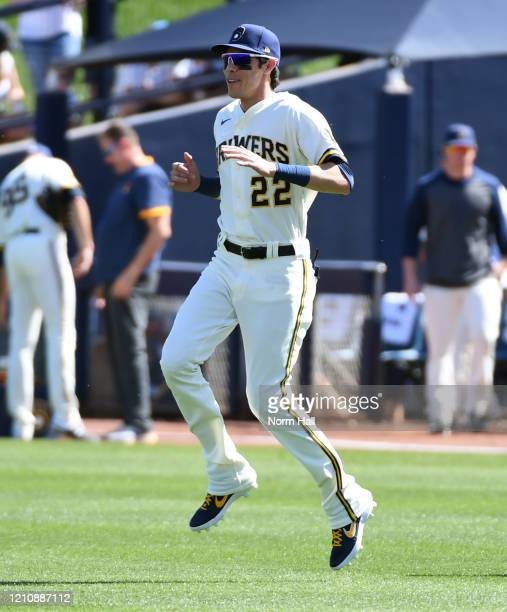 Christian Yelich of the Milwaukee Brewers prepares for a spring training game against the San Francisco Giants at American Family Fields of Phoenix...