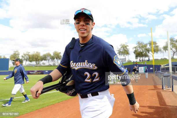 Christian Yelich of the Milwaukee Brewers walks on the field prior to a game against the Chicago Cubs on Friday February 23 2018 at the Maryvale...