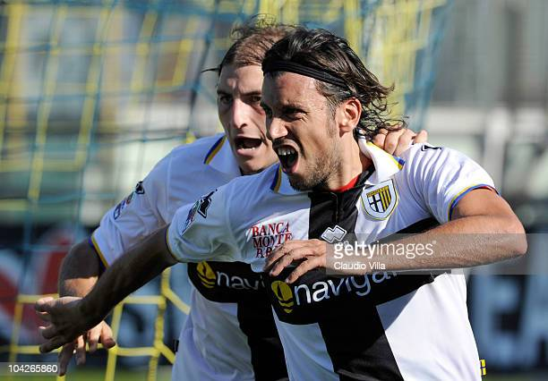 Christian Zaccardo of Parma FC celebrates after the first goal during the Serie A match between Parma and Genoa at Stadio Ennio Tardini on September...