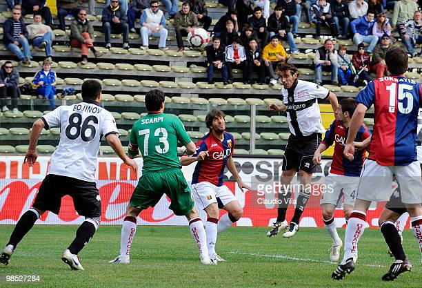 Christian Zaccardo of Parma FC scores the first goal during the Serie A match between Parma FC and Genoa CFC at Stadio Ennio Tardini on April 18 2010...