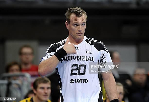 Christian Zeitz of Kiel gestures during the DKB Handball Bundesliga match between Rhein Neckar Loewen and THW Kiel at SAP Arena on November 28 2012...