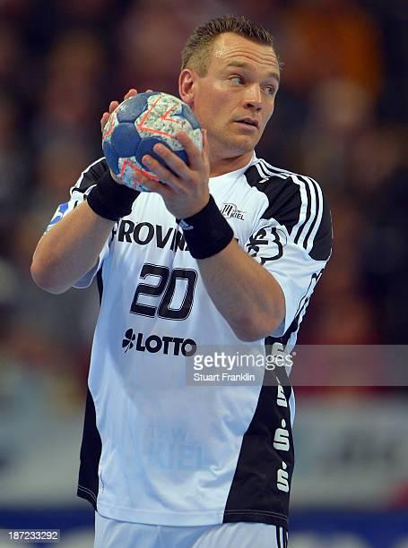 Christian Zeitz of Kiel in action during the Bundesliga handball match between THW Kiel and Rhein Neckar Loewen at the Sparkasse arena on November 6...
