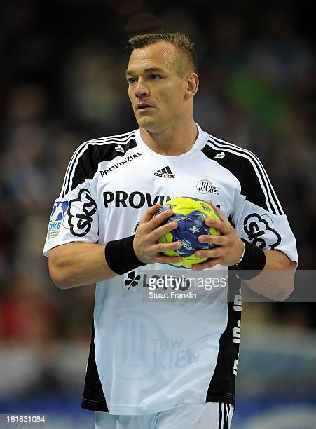Christian Zeitz of Kiel in action during the HBL Bundesliga game between THW Kiel and TSV HannoverBurgdorf at the Sparkassen arena on February 13...