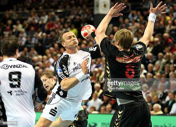 Christian Zeitz of Kiel scores during the Toyota Handball Bundesliga match between THW Kiel and HSG Duesseldorf at the Sparkassen Arena on May 5 2010...