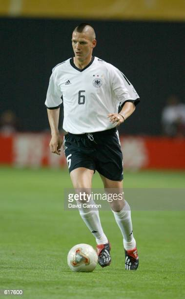 Christian Ziege of Germany in action during the Germany v Saudi Arabia Group E World Cup Group Stage match played at the Sapporo Dome Sapporo Japan...