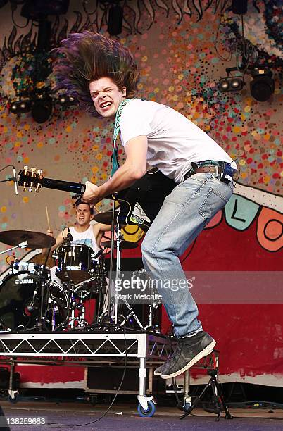 Christian Zucconi of Grouplove performs on stage on day two of the Falls Music Festival on December 30 2011 in Lorne Australia