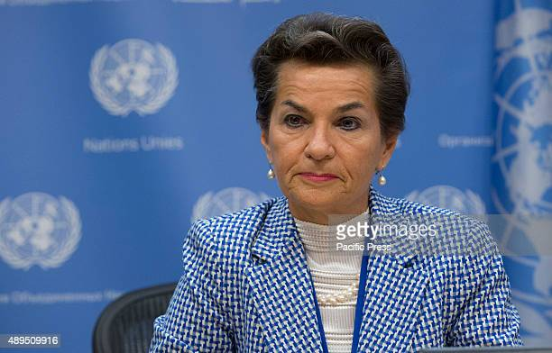 Christiana Figueres Executive Secretary of the UN Framework Convention on Climate Change addresses a press briefing to announce the winners of the...