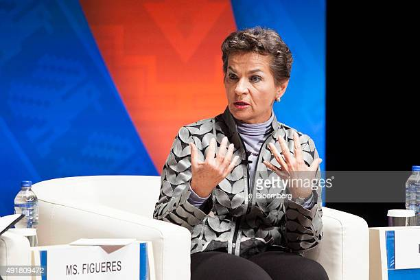 Christiana Figueres, executive secretary of the United Nations framework convention on climate change, speaks at a panel discussion on climate change...