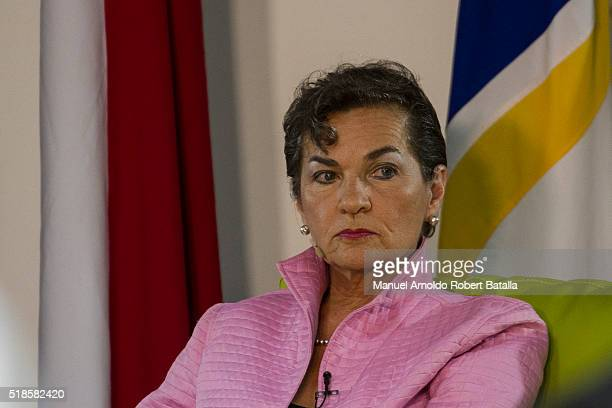 Christiana Figueres, Executive Secretary of the United Nations Framework Convention on Climate Change , looks on during a speach about Global Warming...