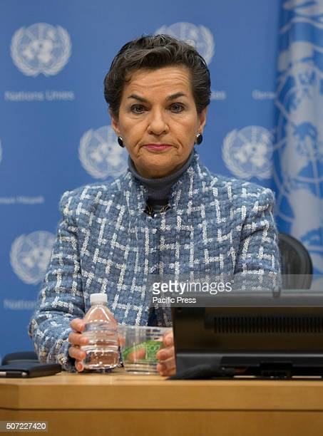 Christiana Figueres, Executive Secretary, United Nations Framework Convention on Climate Change attended a Press Conference on the 2016 Investor...