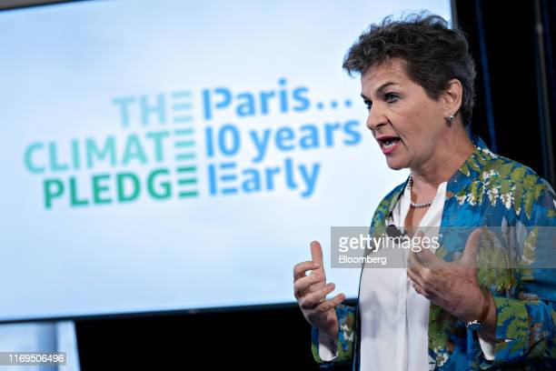 Christiana Figueres former climate change chief at the United Nations speaks during an Amazoncom Inc news conference at the National Press Club in...