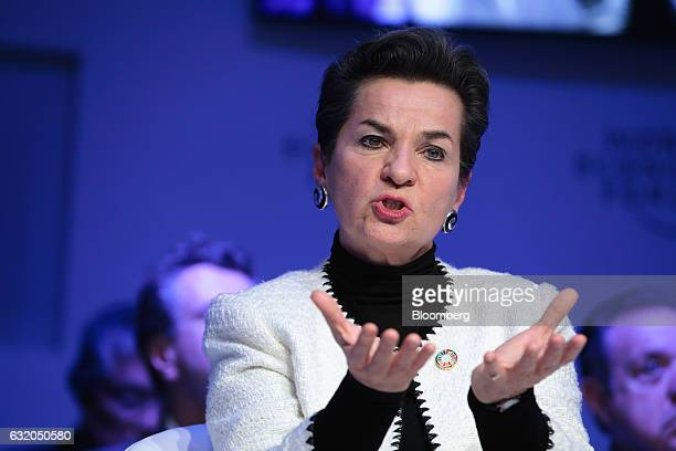 Christiana Figueres, former executive secretary of the United Nations framework convention on climate change, speaks during a panel session at the...