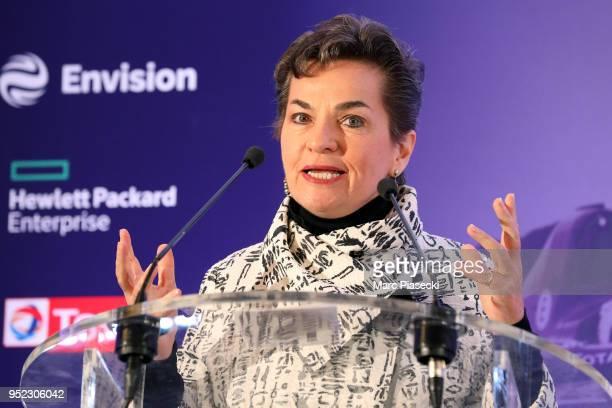 Christiana Figueres Former UN Secretary speaks during the DS Virgin Racing Paris Innovation Summit Formula EPrix on April 28 2018 in Paris France