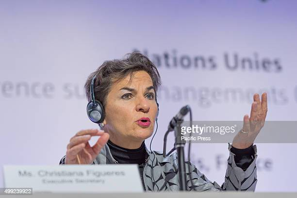 Christiana Figueres gives a Join press briefing before the start of the 21st Conference of the Parties will start on Monday 30 November