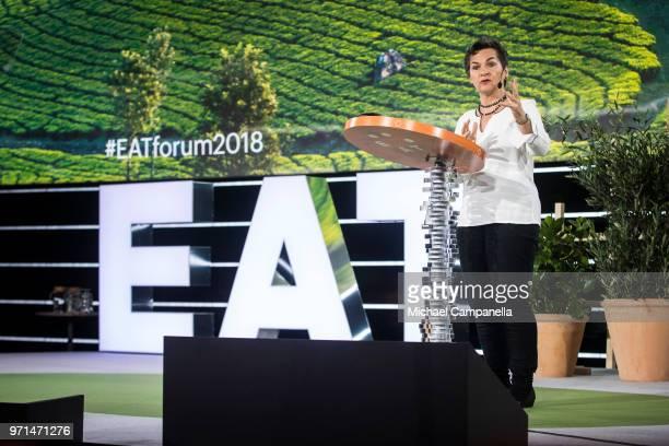 Christiana Figueres speaks during the EAT Stockholm Food Forum 2018 at Annexet on June 11, 2018 in Stockholm, Sweden.