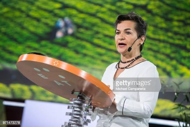 Christiana Figueres speaks during the EAT Stockholm Food Forum 2018 at Annexet on June 11 2018 in Stockholm Sweden