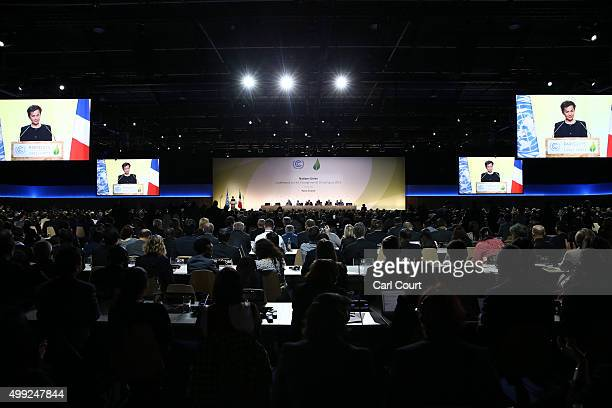 Christiana Figueres the executive secretary of the UN Framework Convention on Climate Change speaks during the opening session of the United Nations...