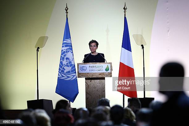 Christiana Figueres, the executive secretary of the UN Framework Convention on Climate Change, speaks during the opening session of the United...