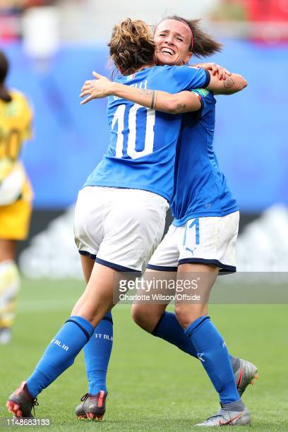 Christiana Girelli and Barbara Bonansea of Italy celebrate their lastminute victory during the 2019 FIFA Women's World Cup France group C match...