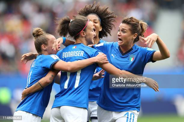 Christiana Girelli of Italy celebrates with goalscorer Barbara Bonansea though the goal is later called offside by VAR during the 2019 FIFA Women's...