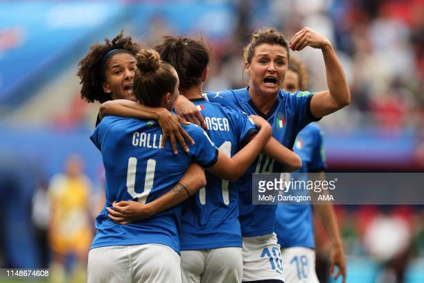 Christiana Girelli of Italy gestures to the assistant referee after Barbara Bonansea of Italy scores a goal to make it 10 which is ruled offside by...