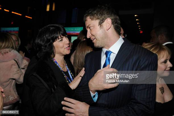 Christiane Amanpour and Gerard Butler attend THE HUFFINGTON POST PreInaugural Ball at The Newseum on January 19 2009 in Washington DC