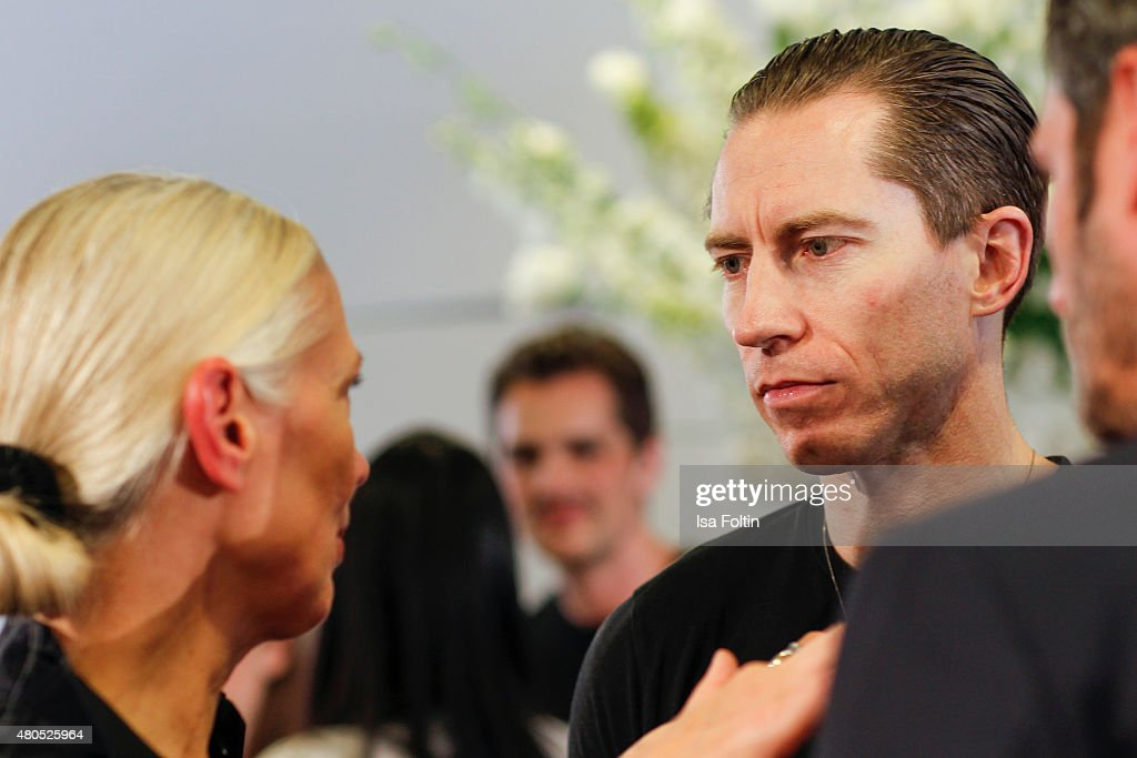 Christiane Arp and Justin O'Shea during Der Berliner Modesalon on July 10, 2015 in Berlin, Germany.