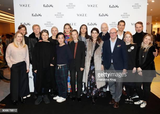 Christiane Arp Andre Maeder Nico Heinemann Marcus Kurz and the designers of Der Berliner Salon during the celebration of 'Der Berliner Salon' by...