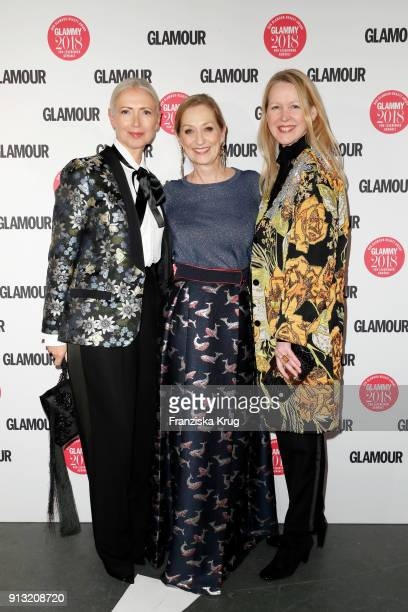 Christiane Arp; Andrea Ketterer and Ingrid Hedley attend the Glammy Award 2018 on February 1, 2018 in Munich, Germany.