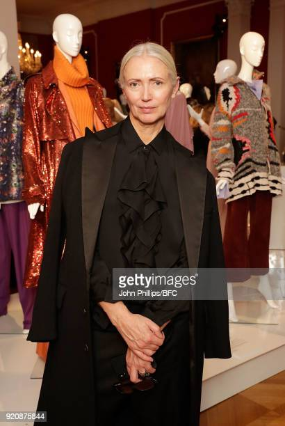 Christiane Arp editor in chief of Vogue Germany at the German Fashion Autumn Winter 18 Presentation during London Fashion Week February 2018 at...
