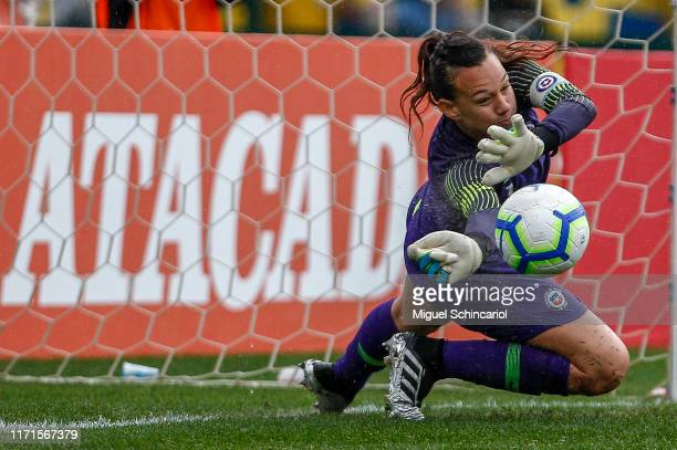 Christiane Endler of Chile block a penalty shot during a match between Brazil and Chile for the final match of Uber International Cup 2019 at...