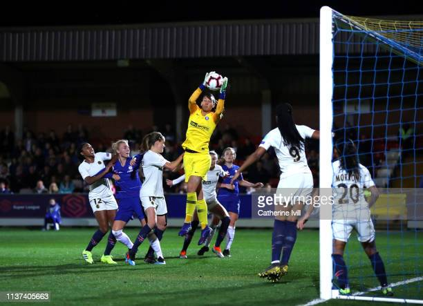 Christiane Endler of PSG during the UEFA Women's Champions League Quarter Final First Leg match between Chelsea Women and Paris SaintGermain Women at...