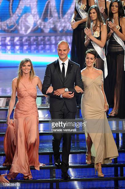 Christiane Filangieri and Roberta Di Capua attend the 2011 Miss Italia beauty pageant at the Palazzetto of Montecatini on September 19 2011 in...