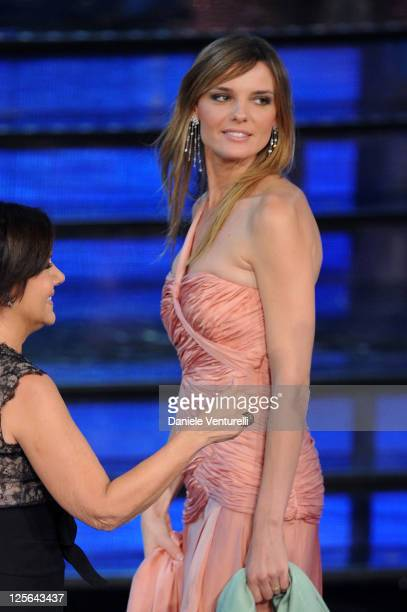 Christiane Filangieri attends the 2011 Miss Italia beauty pageant at the Palazzetto of Montecatini on September 19 2011 in Montecatini Terme Italy