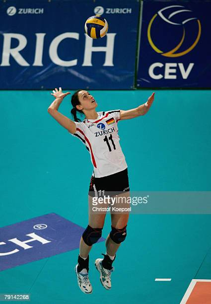 Christiane Fuerst of Germany serves during the Women Beijing 2008 Olympic Games Qualification match between Germany and the Netherlands at the Gerry...