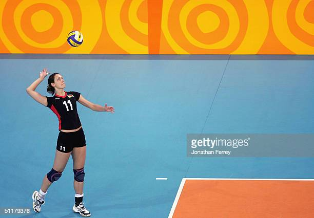 Christiane Furst of Germany serves the ball during the women's indoor Volleyball preliminary match against USA on August 16 2004 during the Athens...