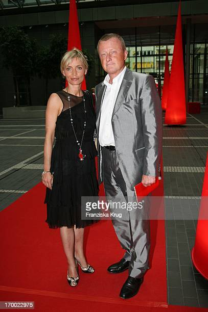 Christiane Gerboth And HansUlrich Jörges On screen during summer festival in the Axel Springer publishing house in Berlin 060706