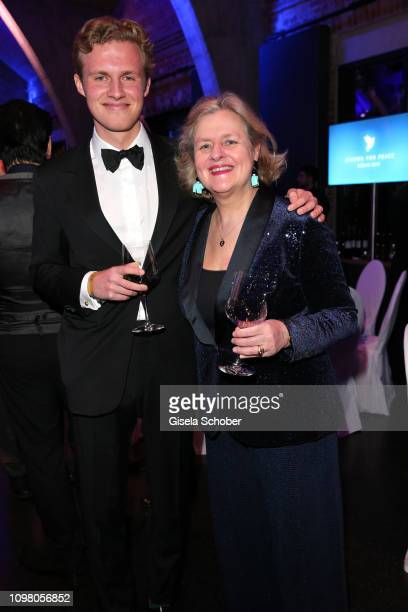 Christiane Graefin zu Rantzau and her nephew Casimir zu Rantzau during the Cinema for Peace Gala at the Westhafen Event Convention Center on February...