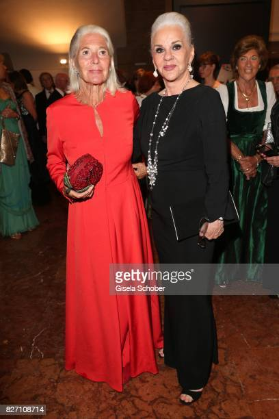 Christiane Hoerbiger and her sister Maresa Hoerbiger attend the 'Aida' premiere during the Salzburg Opera Festival 2017 on August 6 2017 in Salzburg...