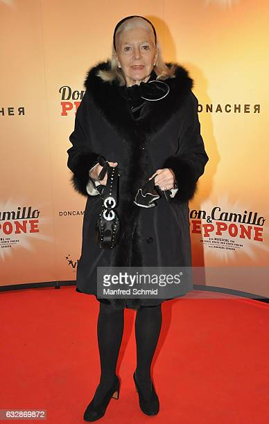 Christiane Hoerbiger poses during the 'Don Camillo Peppone' musical premiere in Vienna at Ronacher Theater on January 27 2017 in Vienna Austria