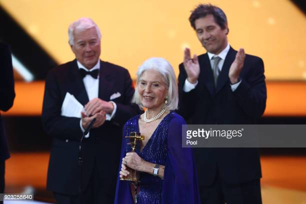 Christiane Horbiger receives her award on stage during the Goldene Kamera awards at Messehallen on February 22 2018 at the Messe Hamburg in Hamburg...