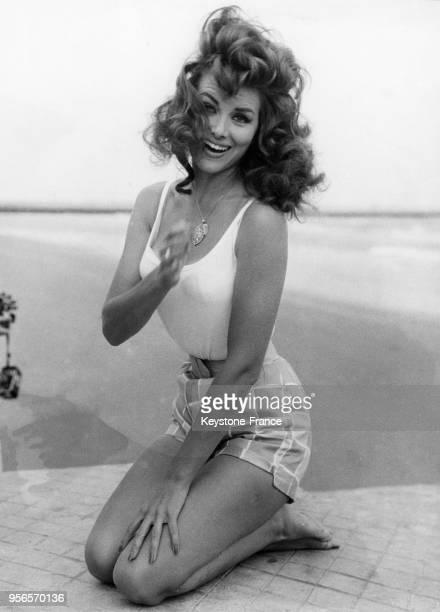 Christiane Martel Miss Univers 1953 au Lido lors du festival international du film de Venise à Venise Italie