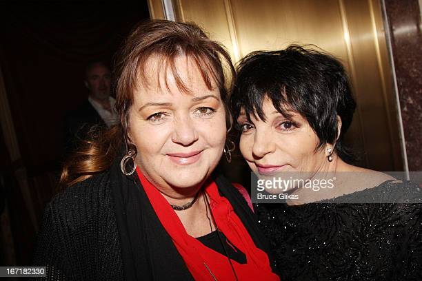 Christiane Nina Minnelli and sister Liza Minnelli attend the Broadway opening night of Macbeth at The Ethel Barrymore Theatre on April 21 2013 in New...
