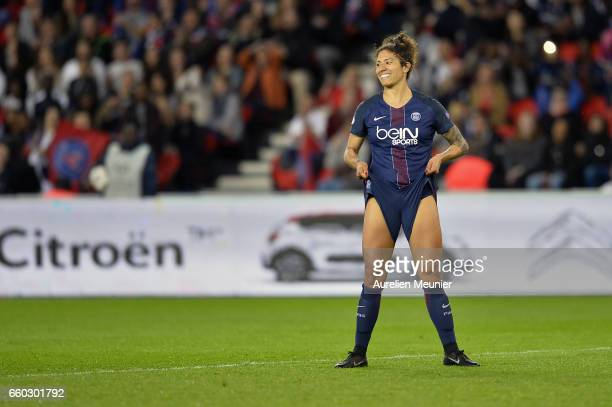 Christiane of Paris Saint Germain in reacts during the Champions League match between Paris Saint Germain and Bayern Munich at Parc des Princes on...