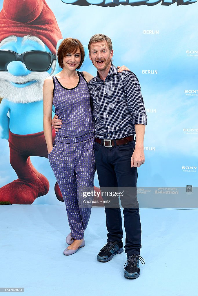Christiane Paul and Michael Kessler attend the 'Die Schluempfe 2' Germany Premiere at Sony Centre on July 28, 2013 in Berlin, Germany.