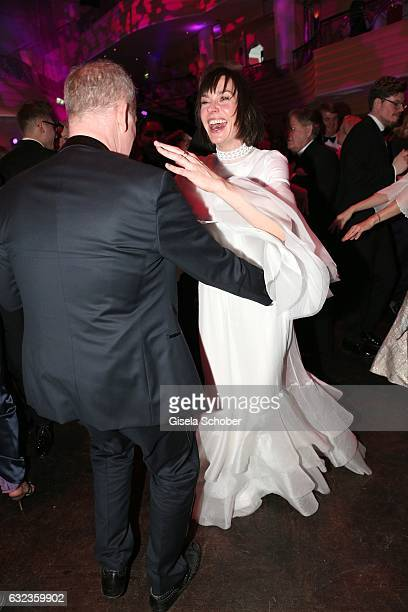 Christiane Paul and Vincent de la Tour dance during the 44th German Film Ball 2017 party at Hotel Bayerischer Hof on January 21 2017 in Munich Germany